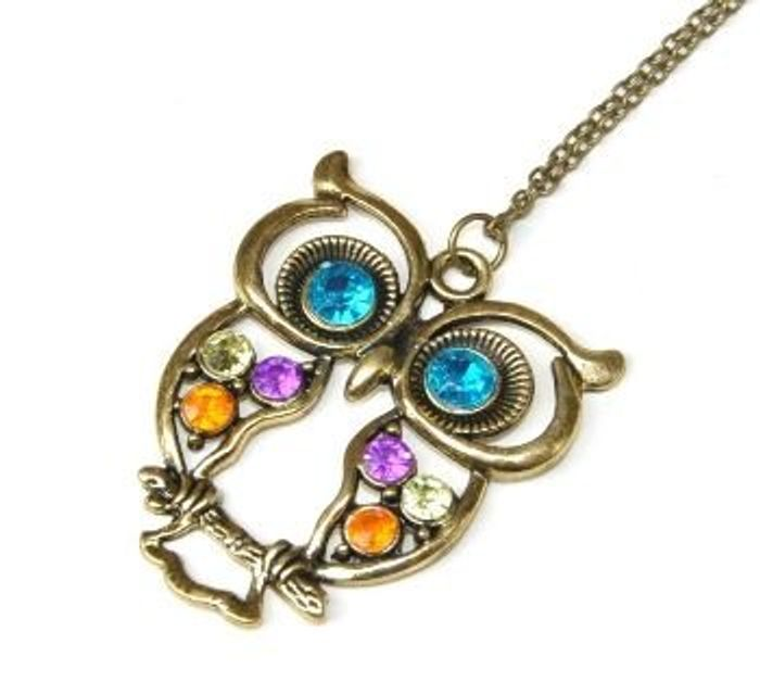 Stone River Jewellery Blue Eyed Bronze Tone Owl Pendant Long Chain Necklace