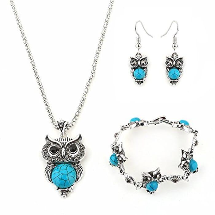 Jewellery Crystal Set of Owl Crystal Pendant Necklace Earrings Bracelet
