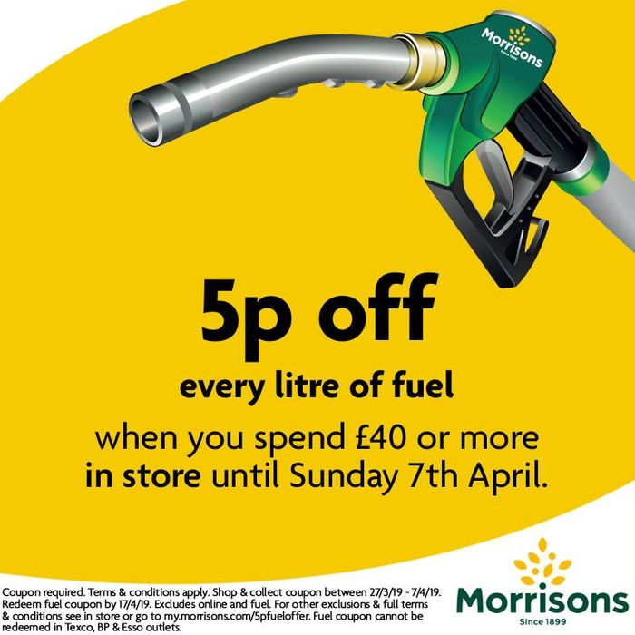 5p per Litre of Fuel When You Spend £40 or More in Store