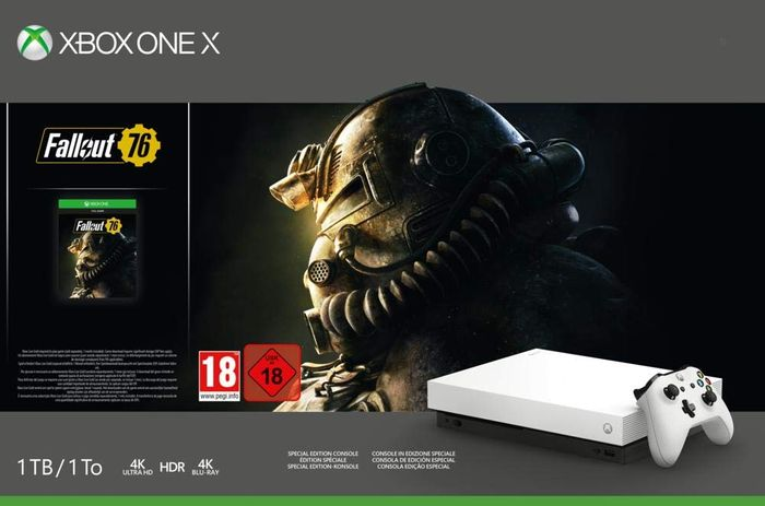 Xbox One X (White) + Rare Replay + Gears of War 4 + Halo 5 + Fallout 76