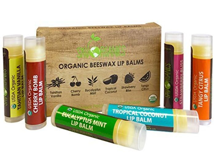 USDA Organic Lip Balm by Sky Organics Discount - 6 Pack Assorted Flavours