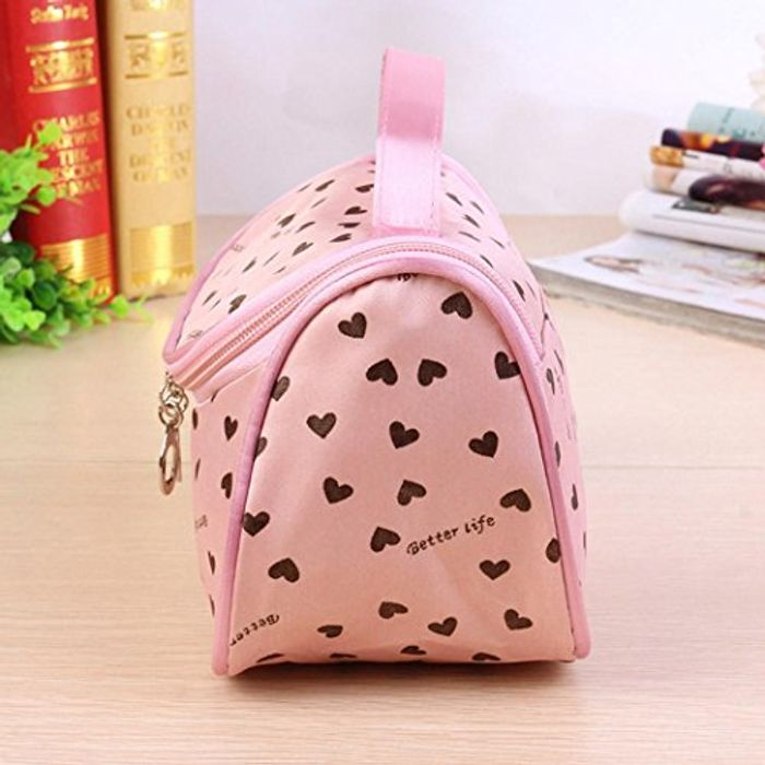 Makeup Travel Cosmetic Bag Organizer Case, Heart Print 70% Discount