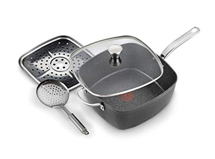 Tefal G119S444 Titanium Excel All-in-One Frying Pan, Black Stone Effect