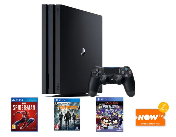 PS4 Pro With Marvel's Spider-Man, The Division, South Park & NOW TV £359.99