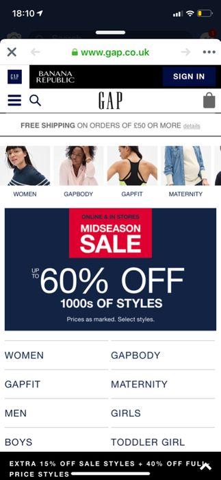 GAP up to 60% off plus 15% off Sales Items