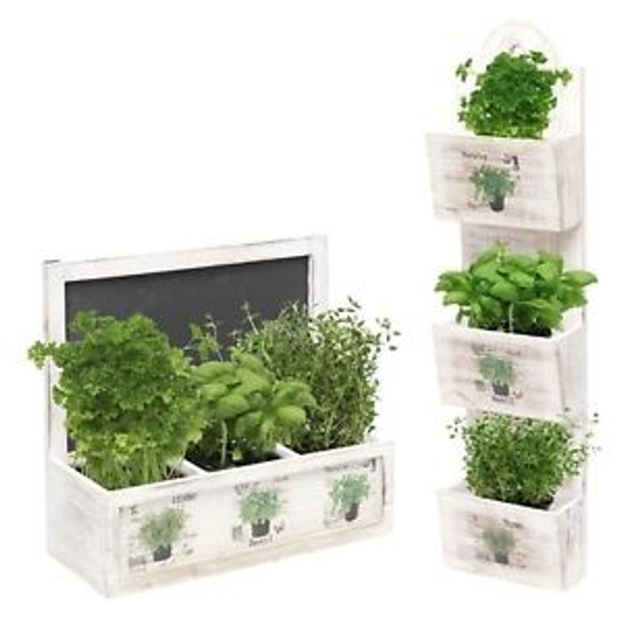 Details about Herb Wooden Shabby Chic Seeds Planter Window Box Garden Plant