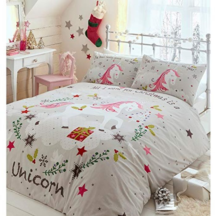 Portfolio Unicorns Christmas Kids Duvet Cover Bed Set, Polycotton, Grey, Double