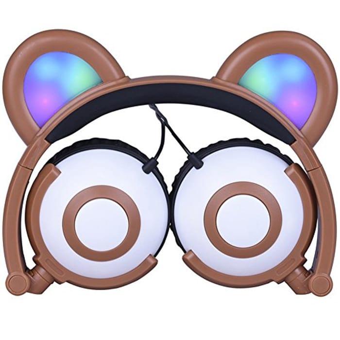 Bear Ear Headset Folding Cartoon Headband LED Light 3.5 Mm Jack,BROWN ONLY