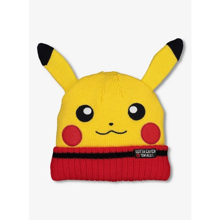 Yellow Pokemon Knitted Beanie Hat - Free Click and Collect
