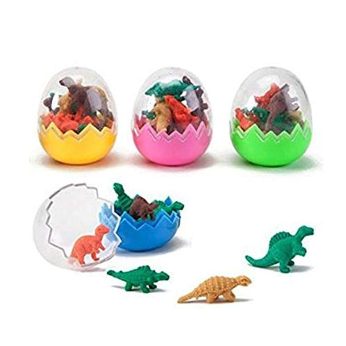 6 Pcs Dinosaur Erasers Toy Eggs