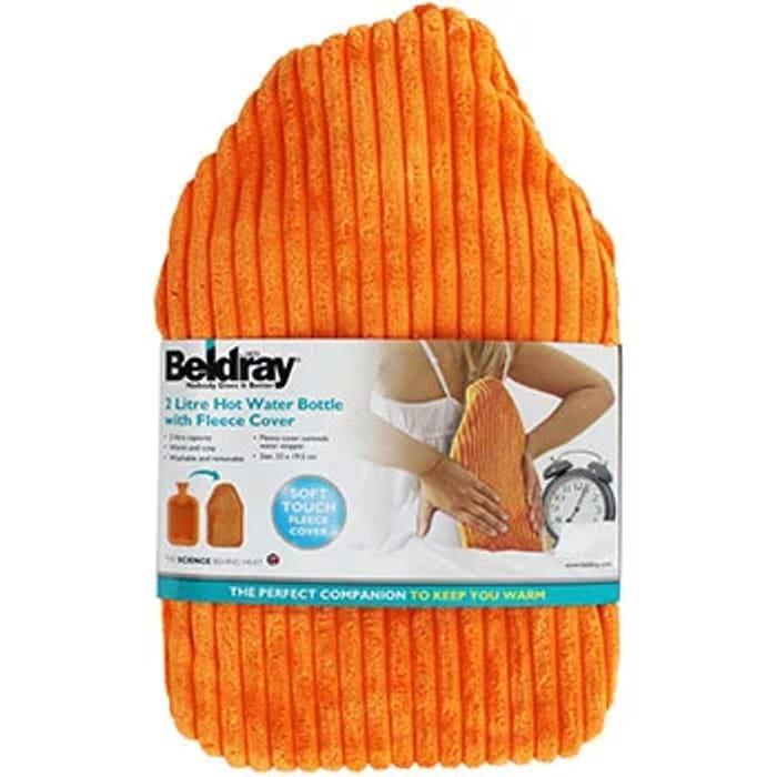 Beldray 2L Hot Water Bottle with Fleece Cover - Orange