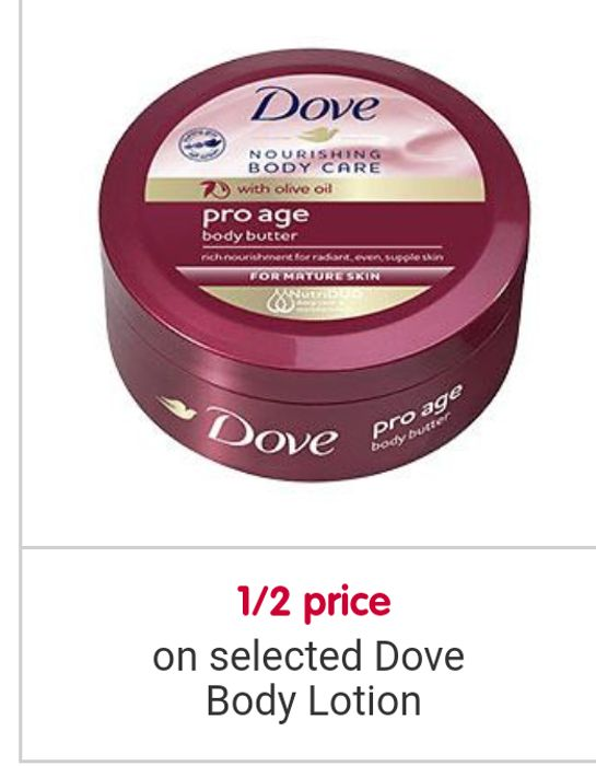 Half Price on Selected Dove Lotion