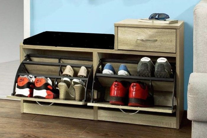 Shoe Storage Bench with Cushioned Seat & Drawers
