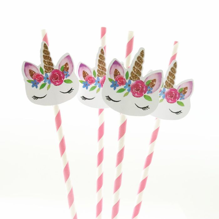 24pcs Unicorn Pink Blue Paper Straws