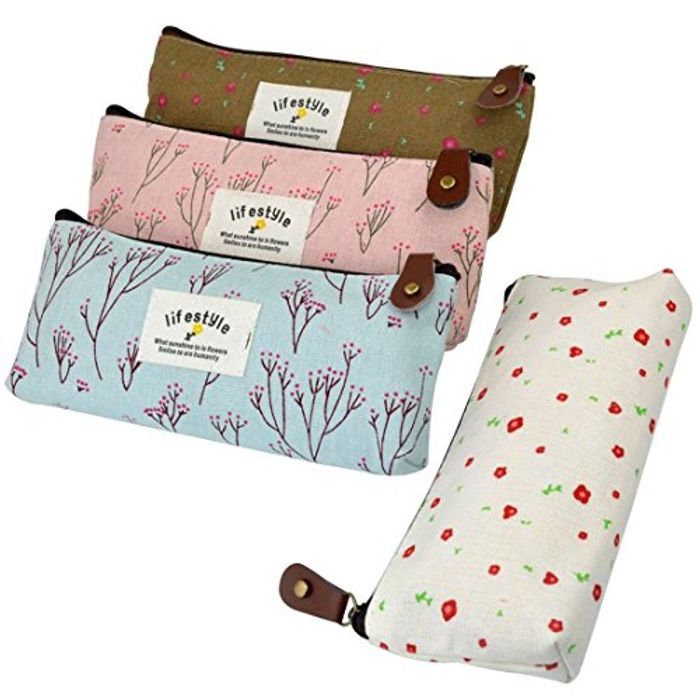 4 PCS Canvas Pencil Case Flower Pattern Pen Pencil Case Stationery Pouch Bag