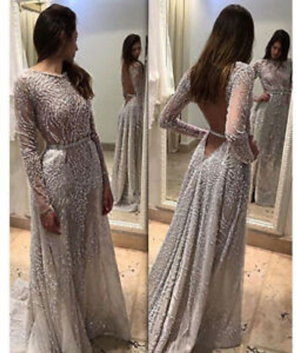 SALE Silver Glitter Backless Long Robe Evening Party Prom Dress Sizes 8 10 12 14