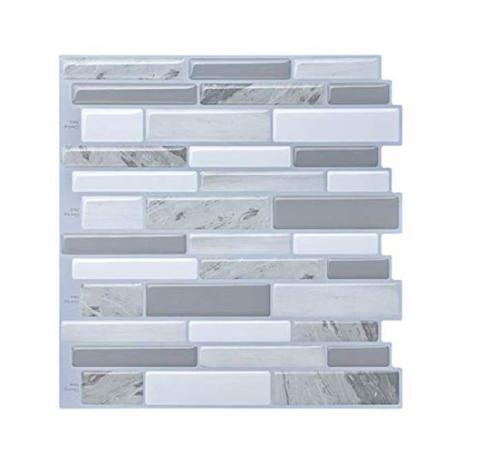 "Tile Splashback, Peel and Stick Kitchen/Bath Modern Style 10"" X 9.8"" (Pack of 5"