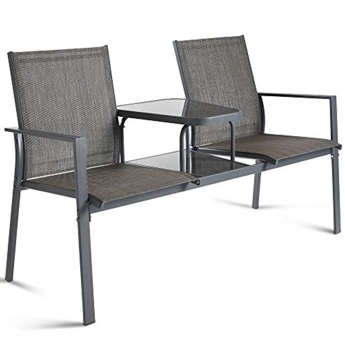 Garden Loveseat - Patio Textoline Duo Seat with Adjoining Table - Outdoor