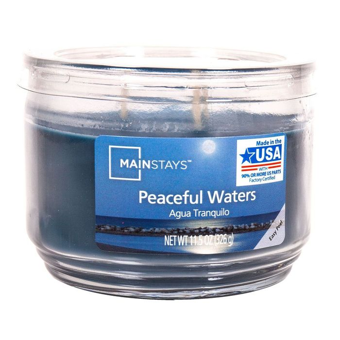 Mainstays Peaceful Waters Large Tumbler Candle 11.5oz - BLUE