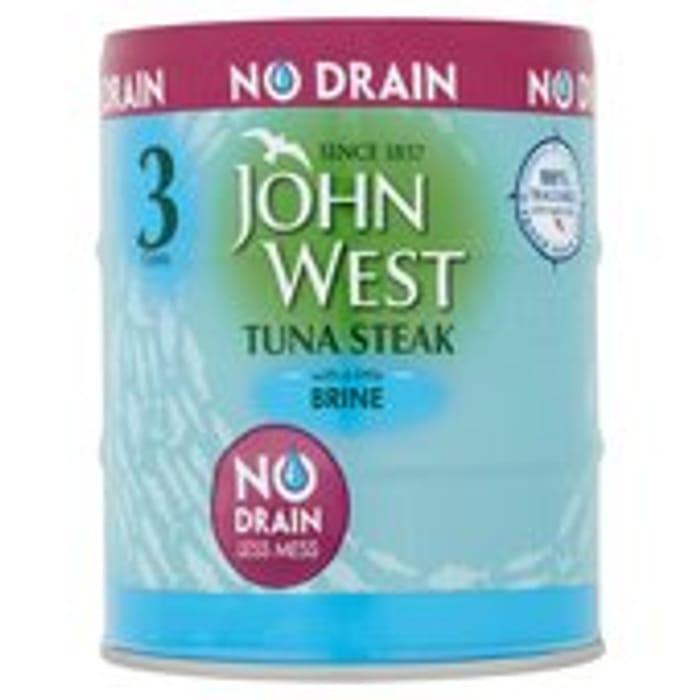 John West Tuna Steak with a Little Brine No Drain 3 X 110g