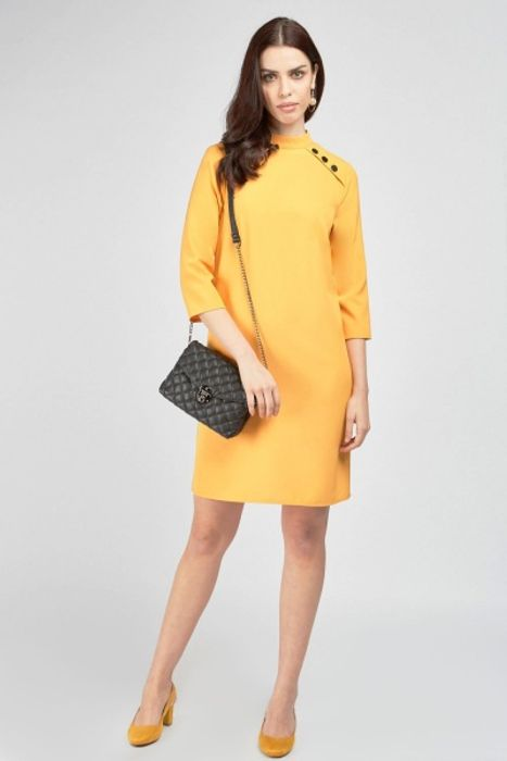 Funnel Neck Button Trim Shift Dress