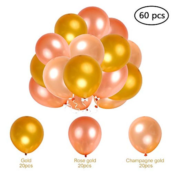 Price Drop 12 Inch 60pcs Pink and Gold Balloons Champagne Gold