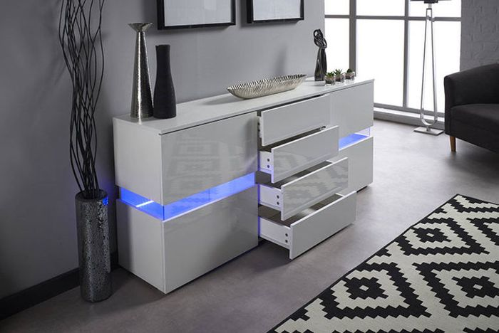 High Gloss LED Sideboard Black or White