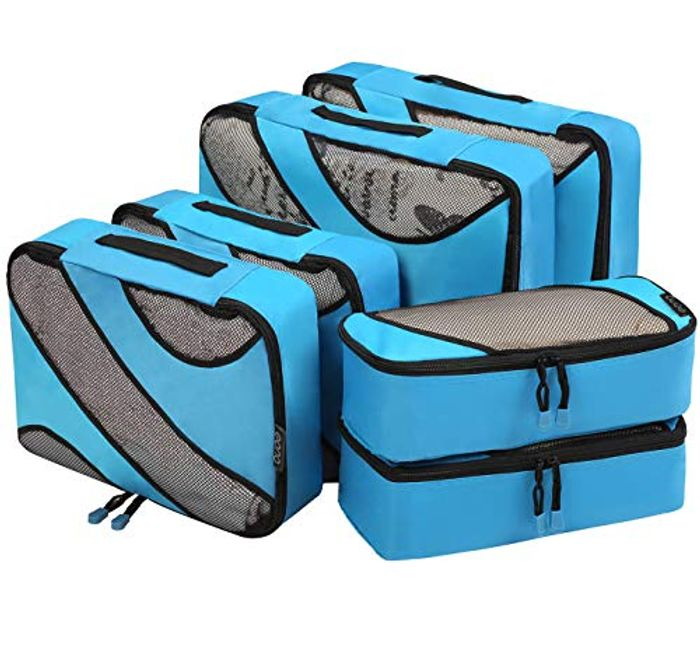 Eono Essentials 6 Set Packing Cubes,3 Various Sizes and Colors