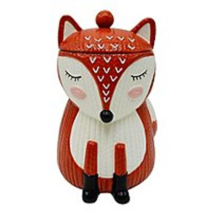 Knit-Effect Fox-Shaped Biscuit Canister