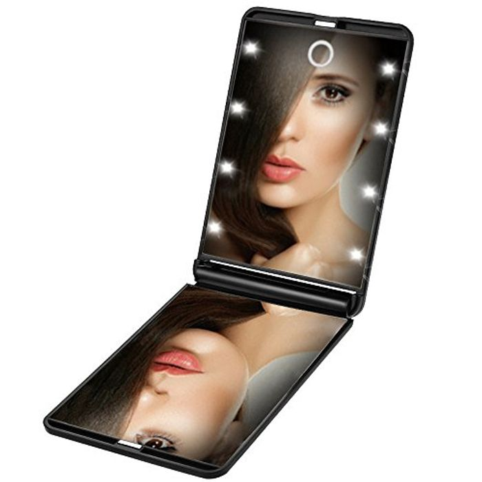 Illuminated Travel Compact Mirror. Ideal to Put in Holiday Suitcase