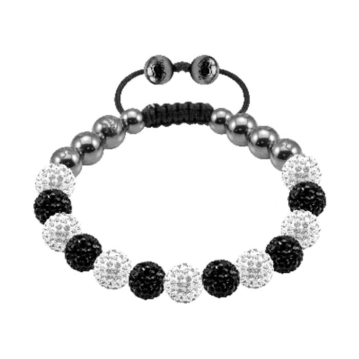 Bonbon Black and White Crystal and Magnetite Bracelet