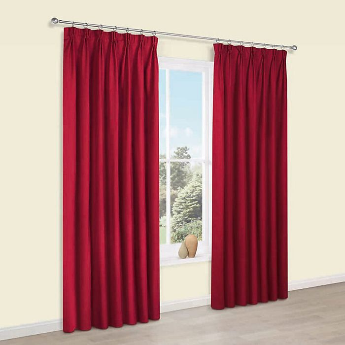 Prestige Flame Plain Pencil Pleat Lined Curtains (W)167 Cm (L)183 Cm