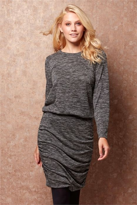 Mottled Grey Ruched Long Sleeves Dress - 63% Off