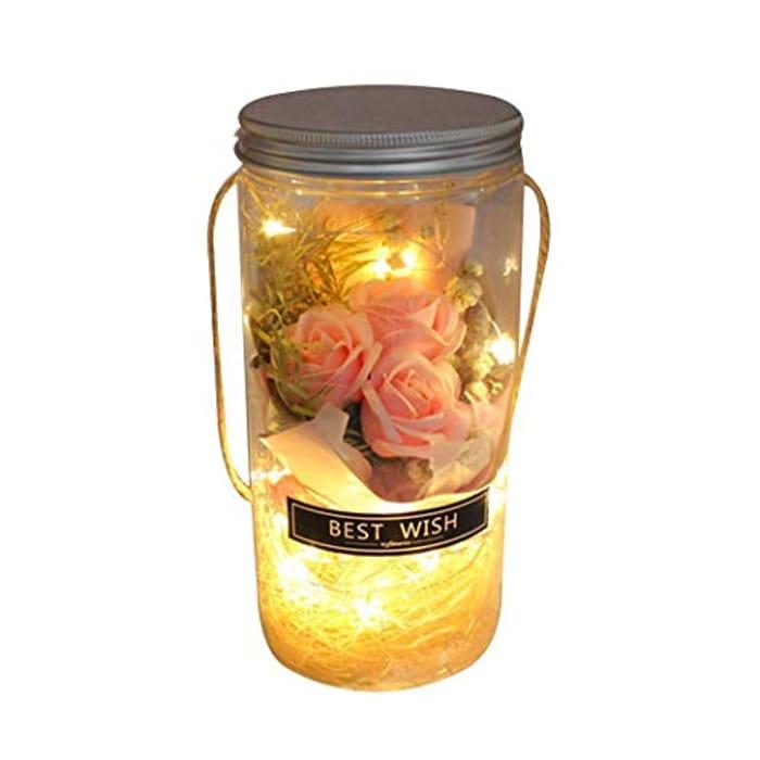 LED Rose Night Light Wish Bottle + FREE Delivery