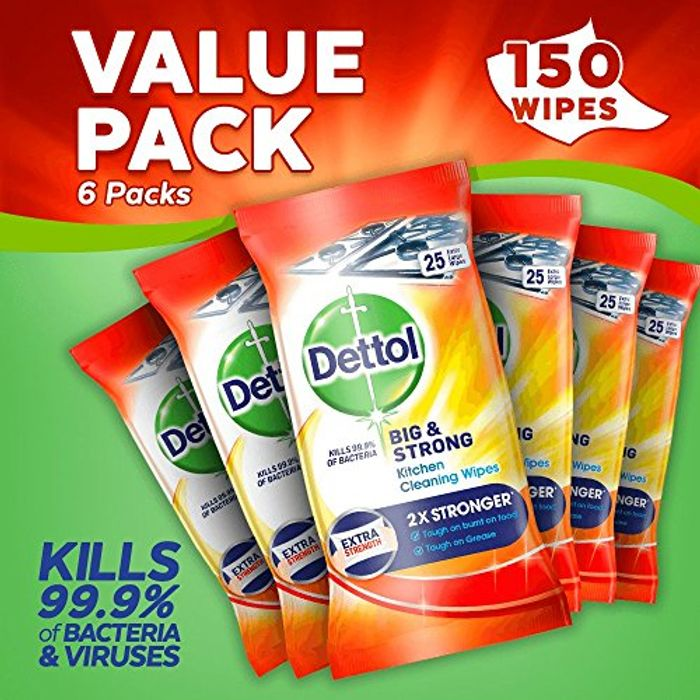 Dettol Big and Strong Kitchen Wipes, 150 Wipes, Pack of 6 X 25 - 60% Off