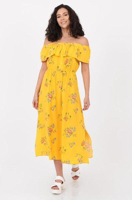 Yellow Floral Print Button Front off Shoulder Dress