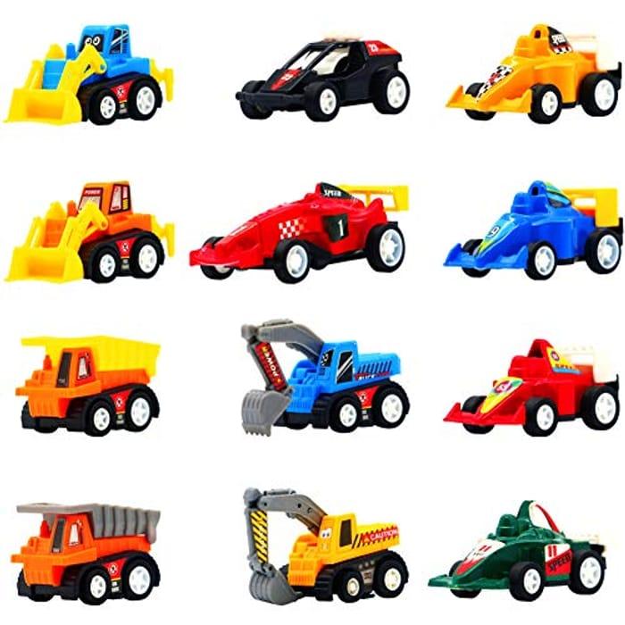 Symiu Pull Back Vehicle Set, 12Pcs - BETTER Than Half Price