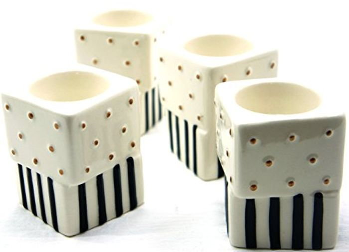Yankee Candle 4 X Jackson Frost Stripes & Polka Dot Tea Light Holders