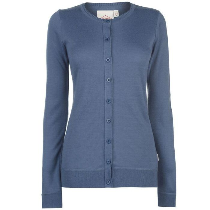 Lee Cooper Soft Crew Cardigan Ladies (Silver Grey or Melon Red)