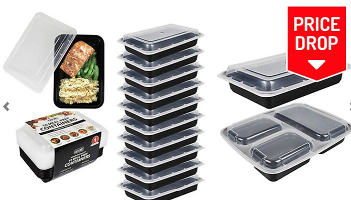 10-Pack Mircowaveable Meal Prep Food Containers - 2 Styles for £4.99