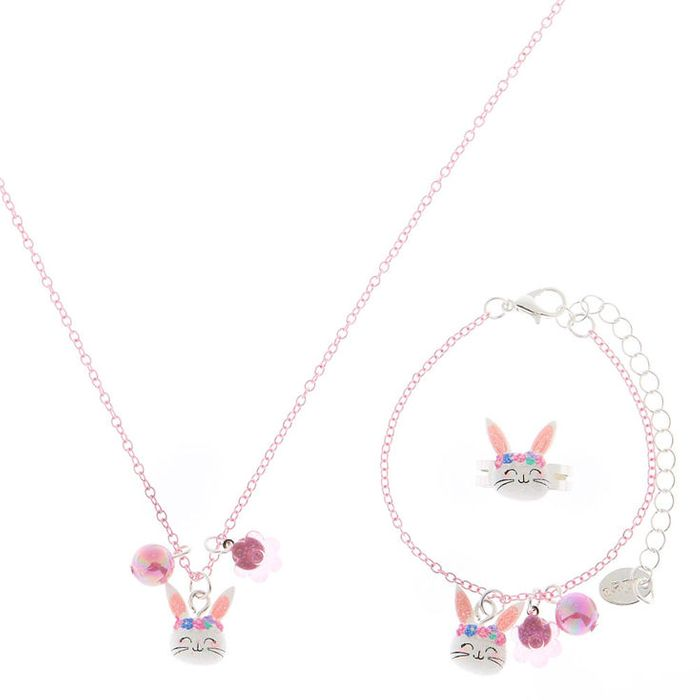 Claire's Club Claire the Bunny Jewellery Set - Pink, 3 Pack
