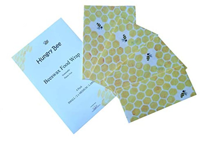 HUNGRY BEE 100% Organic Beeswax Reusable Food Wraps