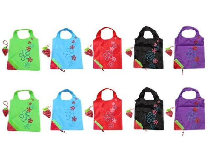 Pack of 10 Strawberry Reusable Foldable Shopping ECO Bags