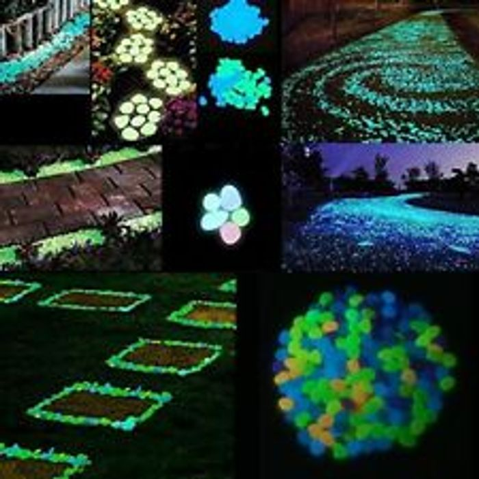 100, 200 or 300 Piece Glow in the Dark Pebble Stones Set - 2 Colours
