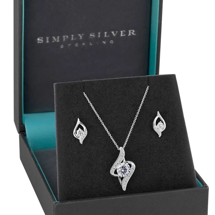 Sterling Silver and CZ Necklace and Earrings Set