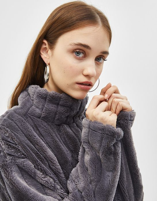 Fuzzy Roll Neck Sweater - Half Price