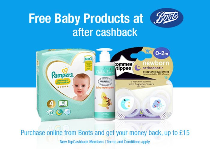 Free Baby Products at Boots after Cashback - up to £15