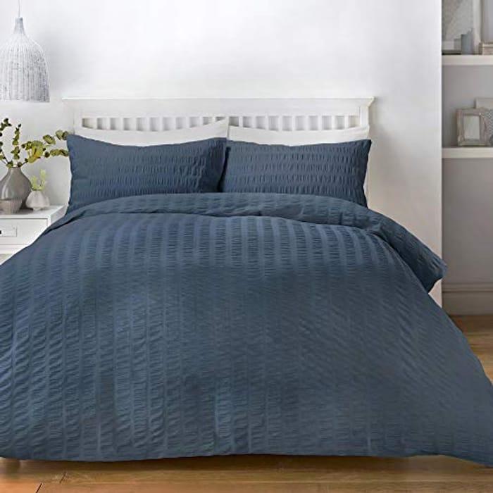 Seersucker - Easy Care Duvet Cover Set - Double Bed Size in Denim