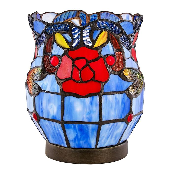 Red Rose Blue Stained Glass Tiffany Table Lamp SAVE £57.50