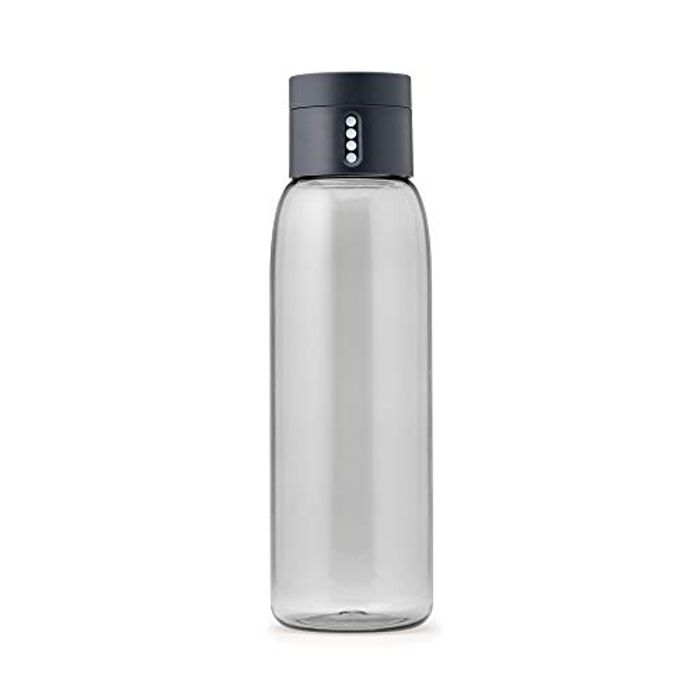 Joseph Joseph Dot Hydration Tracking Water Bottle, Grey, 600 Ml